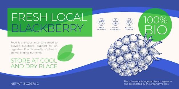 Świeże lokalne owoce i jagody szablon etykiety abstrakcyjne wektor opakowania poziomy projekt układ mod...