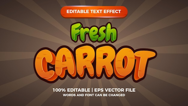 Świeże marchewki edytowalny tekstowy tytuł gry komiksowej