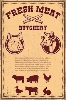 Świeże mięso. plakat szablon z mięsa pokrojonego na tło grunge. ilustracja wektorowa