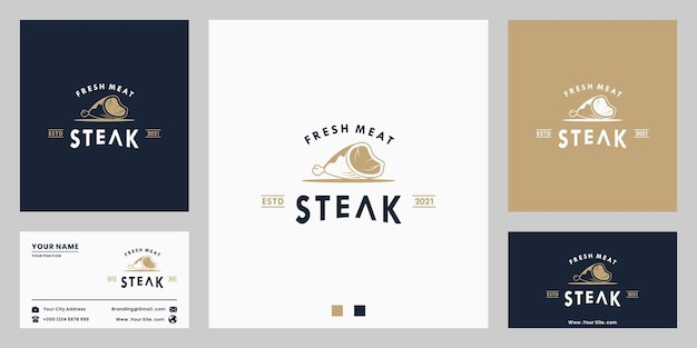 Świeże mięso, steak house, stek wołowy, logo vintage z wizytówką dla restauracji