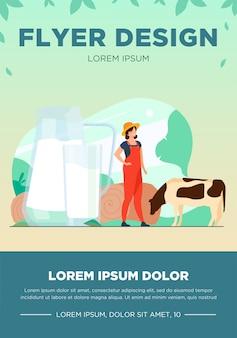 Świeże mleko w szklanym dzbanku. krowy pasą się na polu uprawnym. ilustracja wektorowa na farmę żywności, odżywianie, dieta, wapń, koncepcja kazeiny