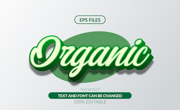Świeże organiczne zielone 3d edytowalny plik tekstowy efekt eps
