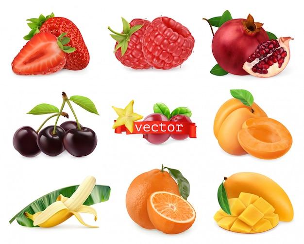 Świeże owoce i jagody. truskawka, malina, granat, wiśnia, morela, banan, pomarańcza, mango. 3d realistyczny zestaw