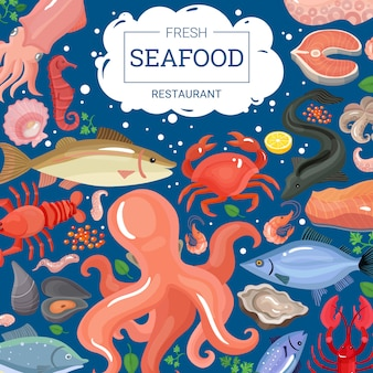 Świeże owoce morza restauracja tło