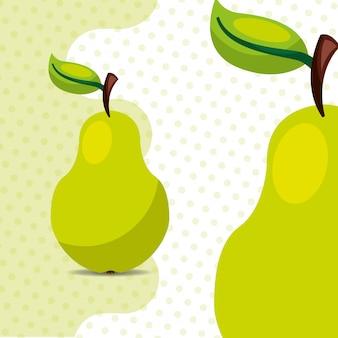 Świeże owoce naturalna gruszka na tle kropek