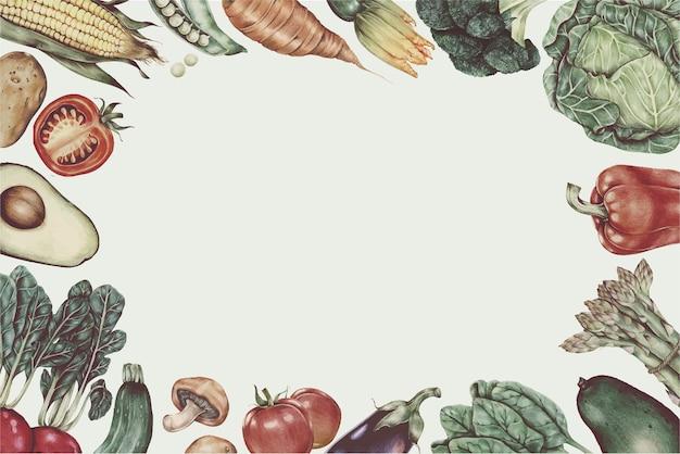 Świeże owoce warzywa wektor rama rysowane ręcznie