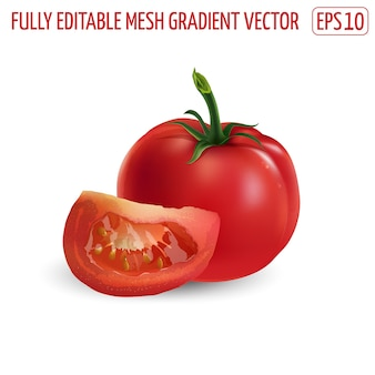 Świeże pomidory czerwone na białym tle