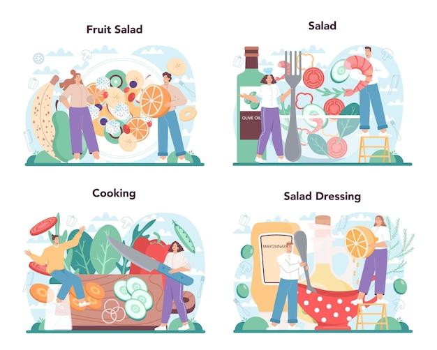 Świeże sałatki w zestawie misek. ludzie gotują żywność ekologiczną i zdrową.