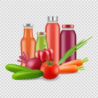 Świeże soki na przezroczystym tle. sok warzywny