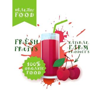 Świeże soki wiśniowe logo produkty naturalne farmy żywności etykietą nad malowaniem splash