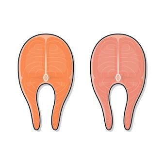 Świeże steki rybne ikona ilustracja