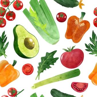 Świeże warzywa bez szwu ręcznie rysowane wektor wzór
