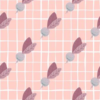 Świeże warzywa bez szwu wzór z rzodkiewką. miękkie różowe tło. dekoracyjny na tapety, tekstylia, papier pakowy, nadruk na tkaninie. .