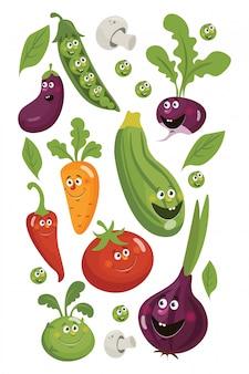 Świeże warzywa papryczka chilli, ogórek, marchew, czosnek, bakłażan i cebula, cukinia, rzodkiew i pomidor. plakat z warzywami.