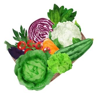 Świeże warzywa w drewnianym pudełku ręcznie rysowane wektor
