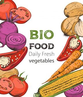 Świeże warzywa, w tym cebula, papryka, marchew, kukurydza, pomidory i buraki.