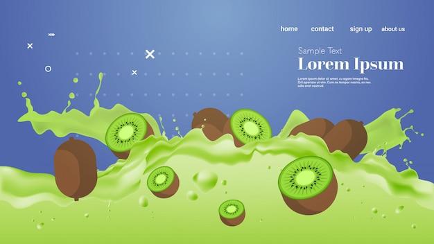 Świeże zielone soki kiwi płyn rozchlapać realistyczne plamy zdrowe owoce rozpryskiwania fale poziome miejsce