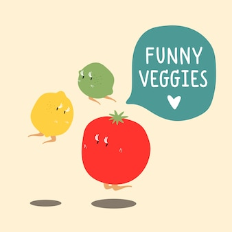 Świeżego warzywa postać z kreskówki ustawiający wektor