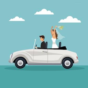 Świeżo Poślubiona Para Jazdy Samochodem Premium Wektorów