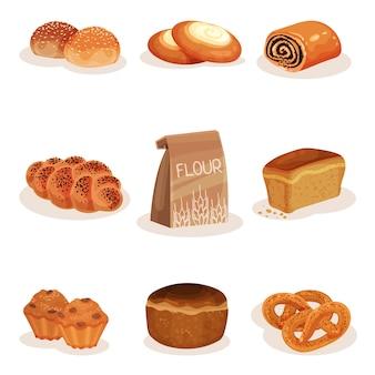 Świeżo upieczony chleb i pieczywo zestaw produktów, pleciony bochenek, bułka, sernik, babeczki precle ilustracja na białym tle