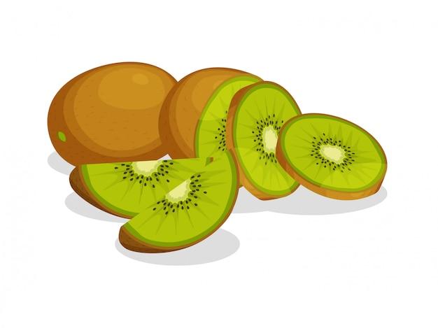 Świeży cały, przyrodni i rżnięty plasterek kiwi odizolowywający na białym tle. owoc cytrusowy. wegańskie ikony żywności w modnym stylu kreskówek. koncepcja zdrowej żywności.