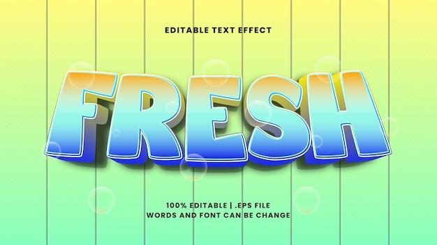 Świeży edytowalny efekt tekstowy w nowoczesnym stylu 3d