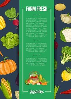 Świeży farma żywności transparent z warzywami