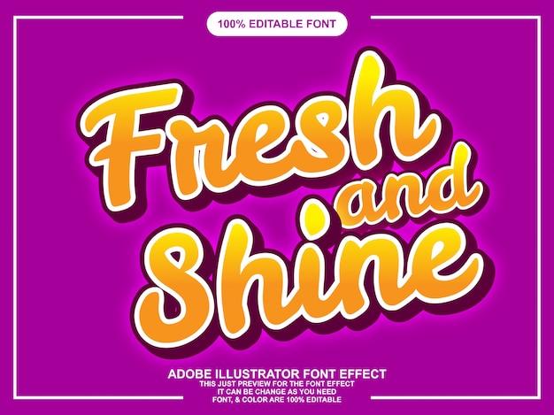 Świeży i lśniący napis efekt edytowalnej czcionki typografii