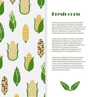 Świeży kukurydzany tło szablonu projekt