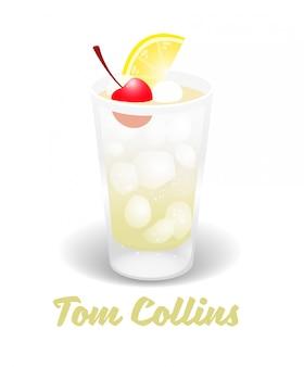Świeży lód mrożony alkoholowy lemoniada pić bar koktajle tom collins w dobrej szklance wykonanej z cukru soku z cytryny gin i gazowanej wody mrożonej.