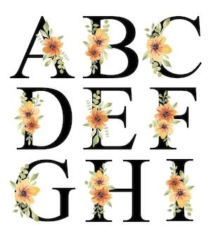 Świeży pomarańczowy akwarela kwiatowy alfabet projekt ai edytowalny