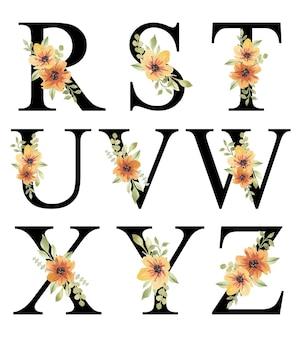 Świeży pomarańczowy akwarela kwiatowy alfabet projekt rz edytowalny