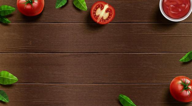 Świeży pomidor i bazylia na drewnianym stole w ilustracji 3d