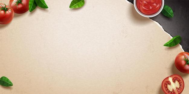 Świeży pomidor i bazylia na papierze kraft w ilustracji 3d