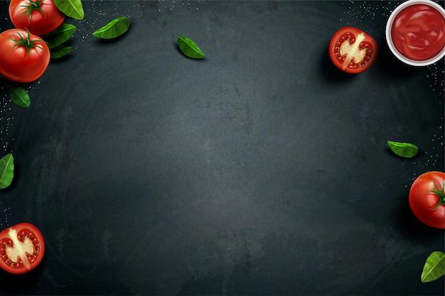 Świeży pomidor i bazylia na tablicy w ilustracji 3d