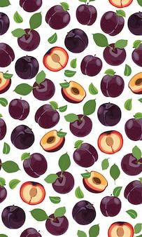 Świeży purpurowy śliwkowy bezszwowy wzór