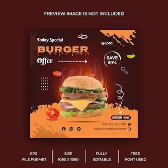 Świeży, pyszny burger i menu restauracji jedzenie w mediach społecznościowych projekt szablonu banera post