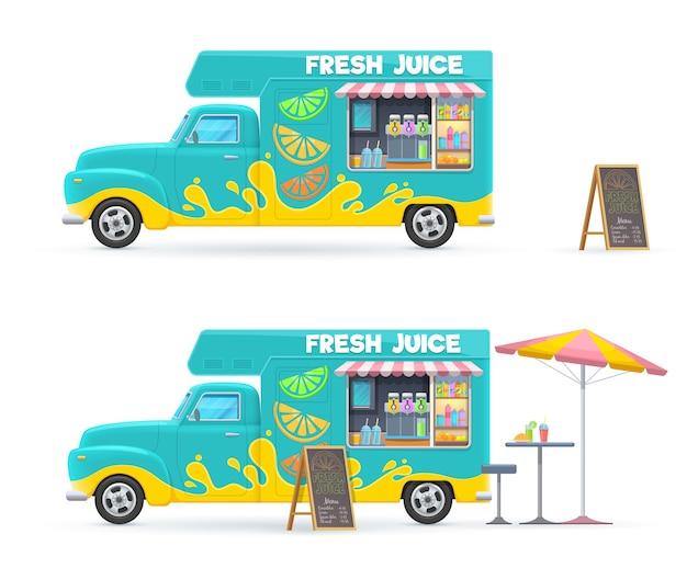 Świeży sok jedzenie ciężarówka na białym tle retro van z zimnymi napojami, menu tablica parasol plażowy i stół z krzesłem.