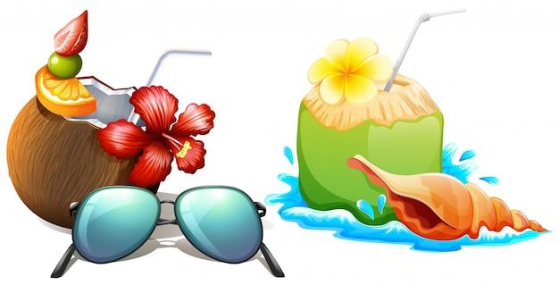 Świeży sok kokosowy ze słomką