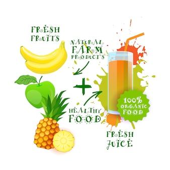 Świeży sok koktajlowy mix owocowy logo naturalne produkty spożywcze etykieta produktów rolnych