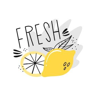 Świeży sok, lemoniada. szablon etykiety wektorowej na napój. soczysta cytryna w stylu doodle, płaska.