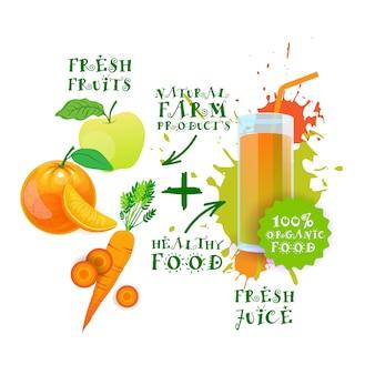 Świeży sok logo zdrowy koktajl etykieta produktów naturalnych żywności