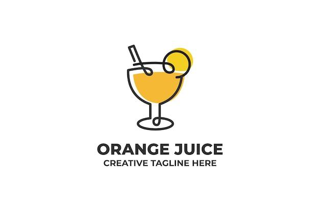 Świeży sok pomarańczowy jedna linia logo ilustracja