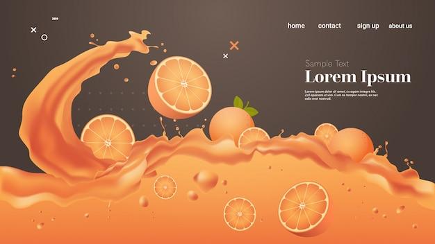 Świeży sok pomarańczowy płyn rozchlapać realistyczne plamy zdrowe owoce przelewanie fale poziome miejsce