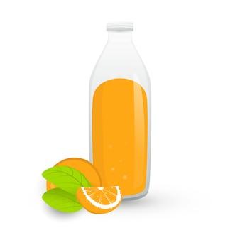 Świeży sok pomarańczowy w butelce