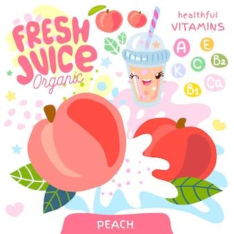 Świeży sok ze szkła organicznego słodka postać kawaii.