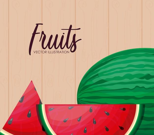 Świeży zdrowy owoc arbuza z plasterkami