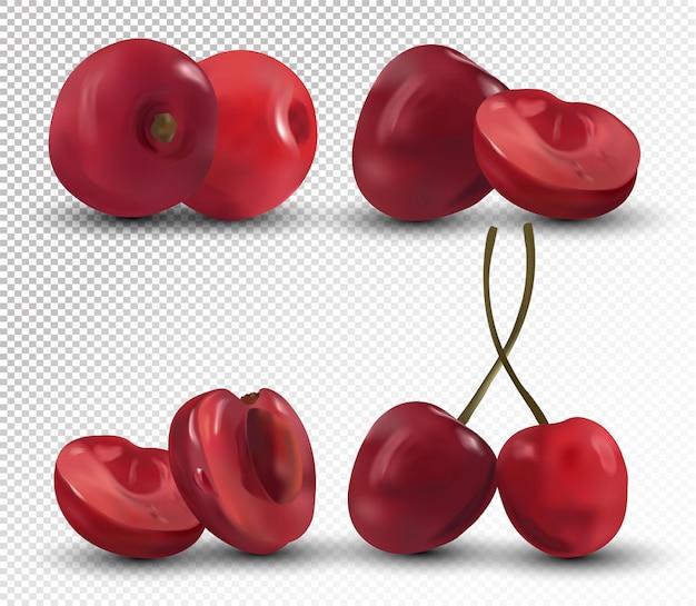 Świeży zestaw czerwonych wiśni na przezroczystej przestrzeni