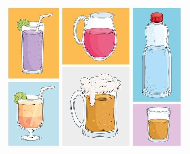 Świeży zestaw napojów rysowane styl