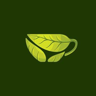 Świeży zielonej herbaty logo wektor
